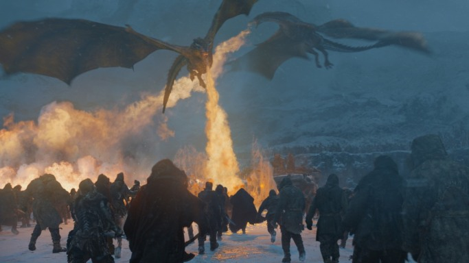 dargons attack Game of Thrones Beyond the Wall