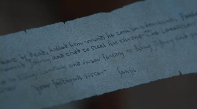 sansa letter Game of Thrones Eastwatch