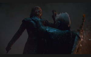 Night King chokes Arya Game of Thrones The Long Night