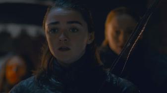 Arya Stark (Maisie Williams) watches the battle