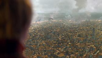 Cersei Lannister looks toward Daenerys Targaryen