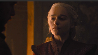 "Daenerys tells Jon, ""Alright then. Let it be fear."""