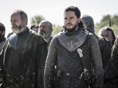 Davos Seaworth and Jon Snow outside King's Landing