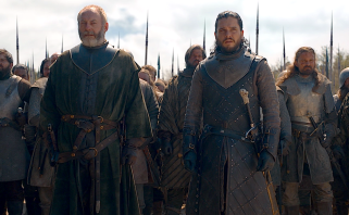 Davos Seaworth and Jon Snow prepare for battle