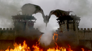 Drogon blasts through the gate of King's Landing