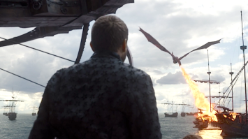 Euron Greyjoy watches Drogon