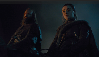 Sandor Clegane and Arya Stark arrive outside King's Landing