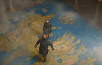 Sandor Clegane and Arya Stark in the Red Keep