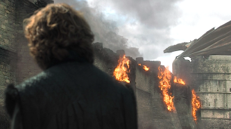 Tyrion worriedly watches the Dragon Queen